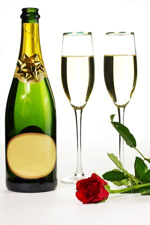 suprise: Romantic suprise of champagne and red rose