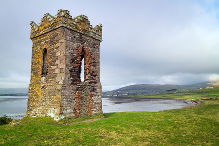 co  kerry: Irish watch tower over Dingle Bay - Co. Kerry Stock Photo