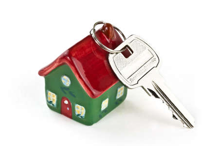 Key to new home over white background Stock Photo
