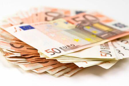 billets euro: Pile de billets de 50 euros