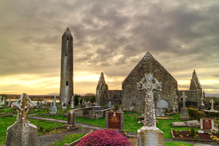 burren: Kilmacduagh monastery in Burren area, Ireland Editorial