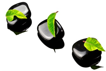 black stones: Black spa stones with green leaf and reflection on glass Stock Photo