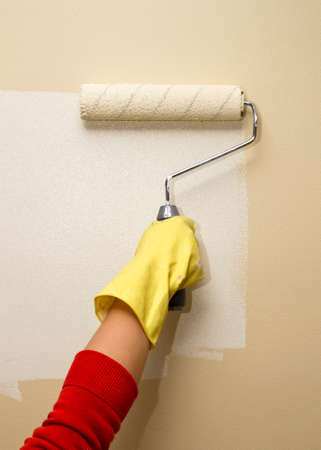 Painting Wall White With Paint Roller Stock Photo, Picture And ...