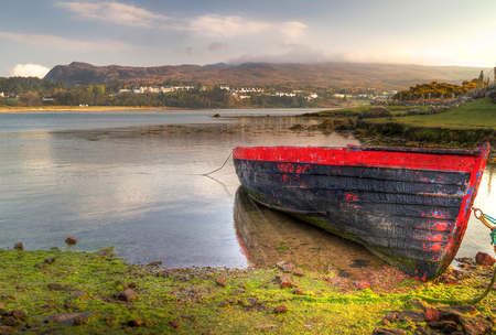 riverside county: Red boat at Mulranny bay in Irish Co. Mayo