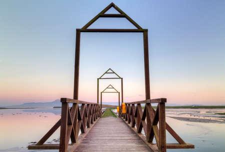 idyllic: Idyllic sunset over the bridge