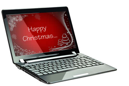 netbooks: Black laptop with Happy Christmas greeting on display over white background
