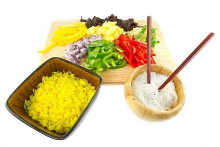 chinese noodles: Chinese noodles and rice with vegetable ingredients