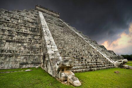 kukulkan: Storm at Kukulkan pyramid in Chichen Itza, Mexico Stock Photo
