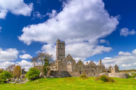 ancient ireland celtic cross: Quin Abbey in Co. Clare, Ireland Editorial