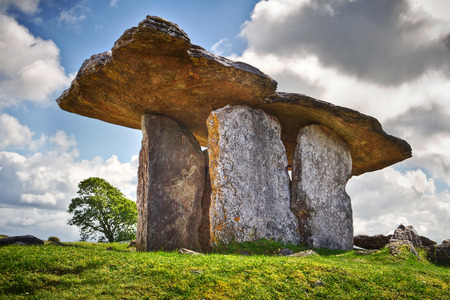5000 years old Polnabrone Dolmen in Burren, Ireland Stock Photo