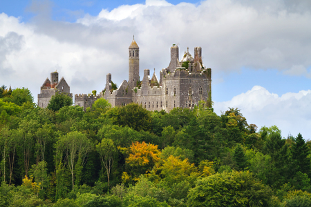 irish history: Dromore Castle on the hill in west Ireland