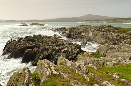 co cork: Irish coast with waves in Co. Cork Stock Photo