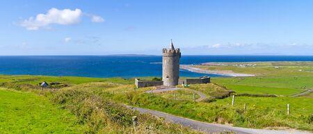 doolin: Panorama of Doonagore Castle near Doolin, Ireland Editorial