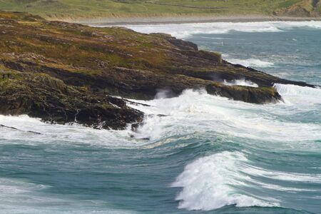 co cork: Irish coast with huge waves at Barley Cove beach, Co. Cork
