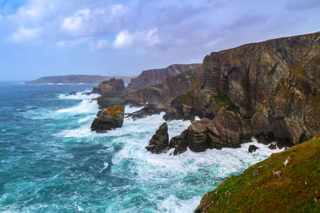 co cork: Coastline of Mizen Head in stormy weather, Co. Cork, Ireland