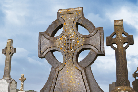 ancient ireland celtic cross: Celtic crosses over blue sky