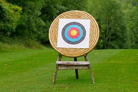 shooting target: Archery shooting target in the forest