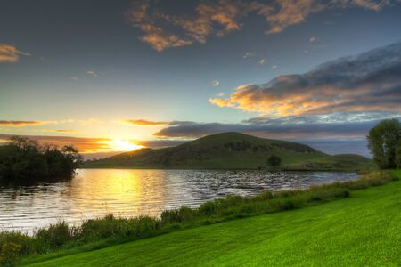 lough: Idyllic sunset scenery at Lough Gur lake, Co. Limerick, Ireland