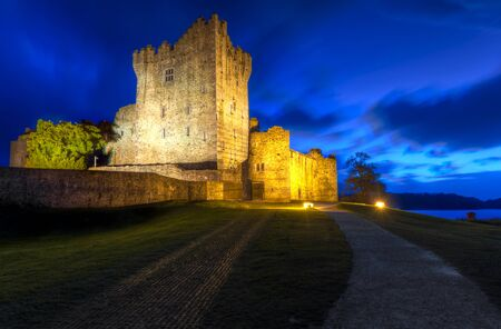 co  kerry: 15th century Ross castle at night in Co. Kerry, Ireland