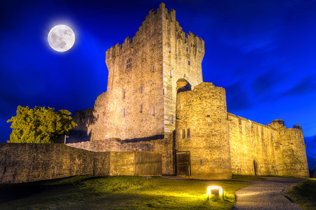 15th century: 15th century Ross castle at night in Co. Kerry, Ireland