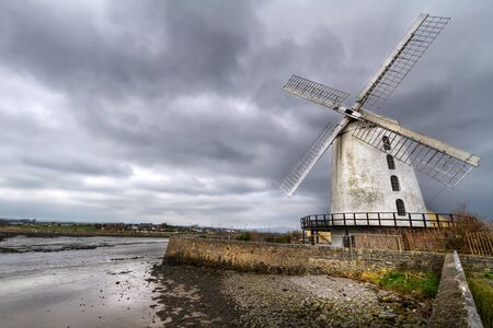 co kerry: White Blenerville windmill in Tralee, Co. Kerry, Ireland Stock Photo