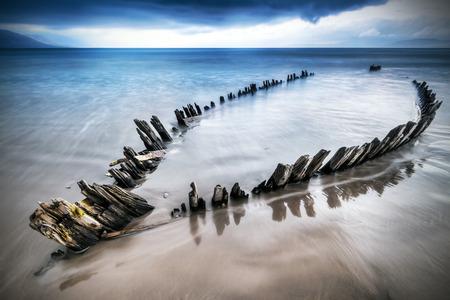 shipwreck: The Sunbeam shipwreck on Rossbeigh beach, Ireland Stock Photo