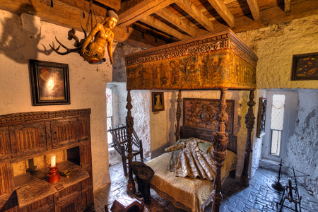15th century: Ancient bedroom interior of 15th century Bunratty castle, Co. Clare Editorial