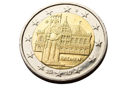 reverse: Reverse side of two euro coin with architecture of Bremen