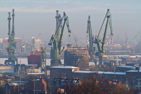 shipper: Shipyard in Gdansk at winter Editorial