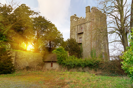 15th century: 15th century Foulksrath Castle at sunset in County Kilkenny, Ireland Stock Photo