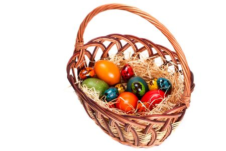 painted eggs: Traditional Easter basket with painted eggs