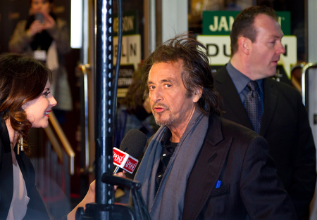 interviewed: Al Pacino being interviewed at the premiere of his Wilde Salome movie at Jameson Dublin International Film Festival Editorial