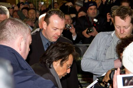 autograph: Al Pacino giving autograph at the premiere of his Wilde Salome movie at Jameson Dublin International Film Festival Editorial