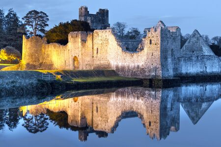 irish history: Ruins of the castle in Adare at night, Co. Limerick, Ireland