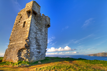 moher: Ruins of old castle on Cliffs of Moher, Ireland