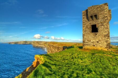 doolin: Ruins of old castle on Cliffs of Moher, Ireland