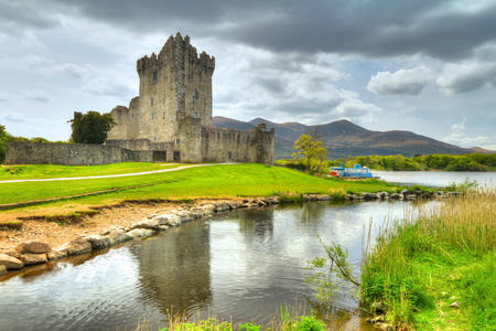 co kerry: Ross Castle with reflection in Co. Kerry, Ireland