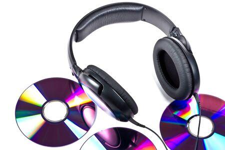 discs: Compact discs with headphones Stock Photo