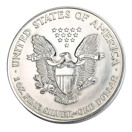 Macro shot of one silver dollar Stock Photo