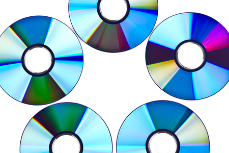 recordable: Pattern made of compact discs over white background