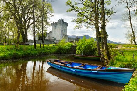 co kerry: Boat at Ross Castle in Co. Kerry, Ireland