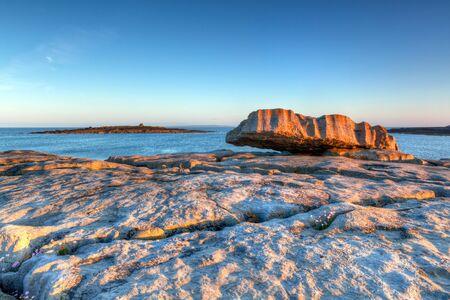 burren: Atlantic ocean sunrise in Burren, Ireland Stock Photo