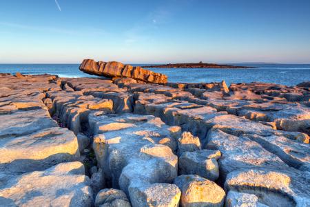 doolin: Atlantic ocean sunrise in Burren, Ireland Stock Photo
