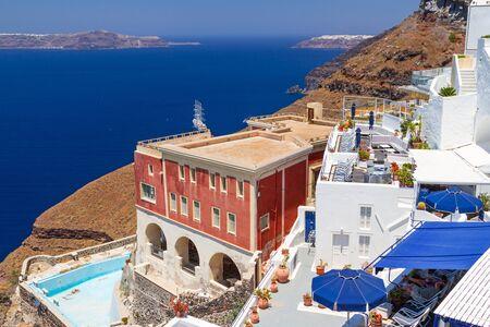 fira: White architecture of Fira town on Santorini island, Greece Stock Photo