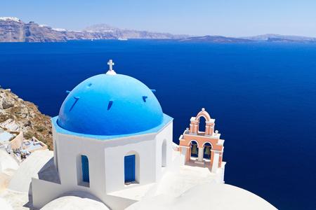 cupolas: Church Cupolas of Oia town on Santorini island, Greece