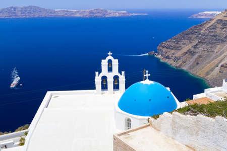 fira: Blue churches of Fira town at Santorini island, Greece Stock Photo