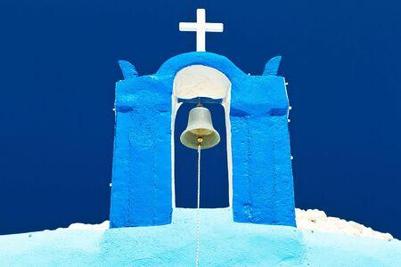 cupolas: Tower bell of Cupolas church of Santorini island, Greece Stock Photo