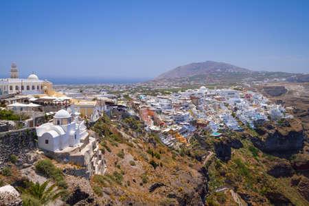 fira: Architecture of Fira town on Santorini island, Greece Stock Photo