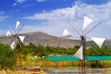 wind force wheel: White windmills of Lassithi Plateau on Crete, Greece