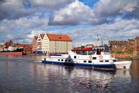 river side: Motlawa river side in old town of Gdansk, Poland